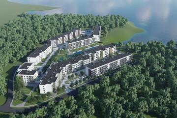 """Juglas ezera krastā tiek attīstīts jauns daudzdzīvokļu ēku komplekss """"Ezerjugla"""" (+FOTO)"""